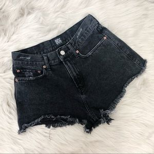 BDG High Rise Cheeky Distressed Black Denim Shorts